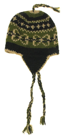 Earth Ragz 100% Wool Lined Winter Hat Ear Flaps Soft Warm Green White Tassels OS