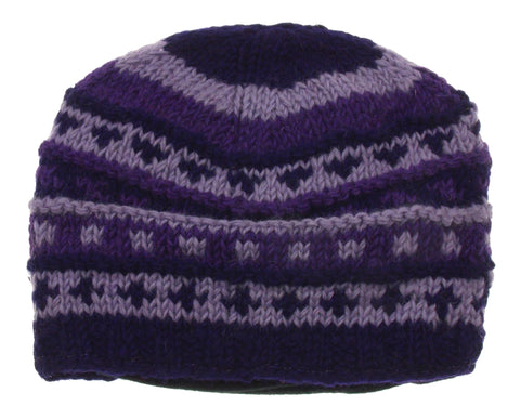 Winter Hat Earth Ragz 100% Wool Rolled Fleece Lined Soft Warm Purple Black