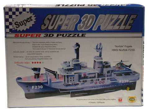 "Super 3D Colored Puzzle HMS Norfolk F230 Frigate 16.5"" Long Foam UK Royal Navy"