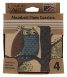 Counter Art Fantasy Owl Tree Square Absorbent Stone Coasters Set 4 Made USA Cork