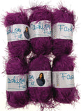 Oxford Fashion Fur Yarn Purple Lot 6 Skein Balls Polyester Faux Knitting Worsted