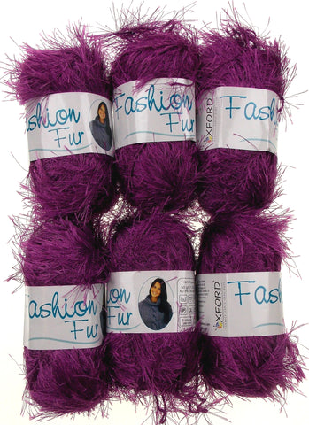 Oxford Fashion Fur Purple Lot 6 Skeins Balls Polyester Faux