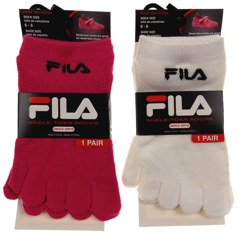 FILA Set of 6 Pairs Socks Skele Toes White Pink Size 6-8 Girls 5 Toes Quick Dry - FUNsational Finds - 1