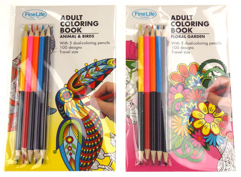 Adult Coloring Books Set 2 Animals Birds Floral Garden Colored Pencils FineLife - FUNsational Finds - 1