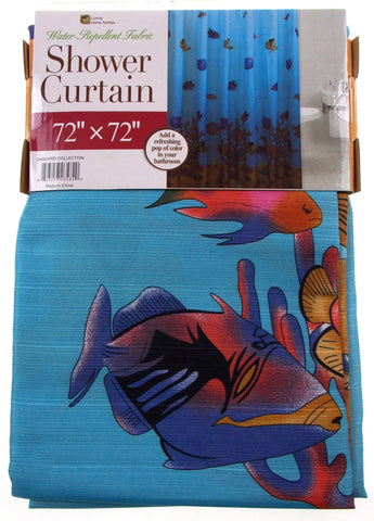 "Fish Fabric Shower Curtain Water Repellent 72"" x 72"" Blue Shells Sand Plants - FUNsational Finds - 1"