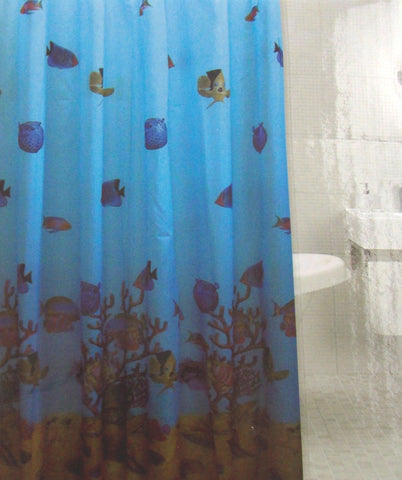 Fish Fabric Shower Curtain Water Repellent 72 X Blue Shells Sand Plants