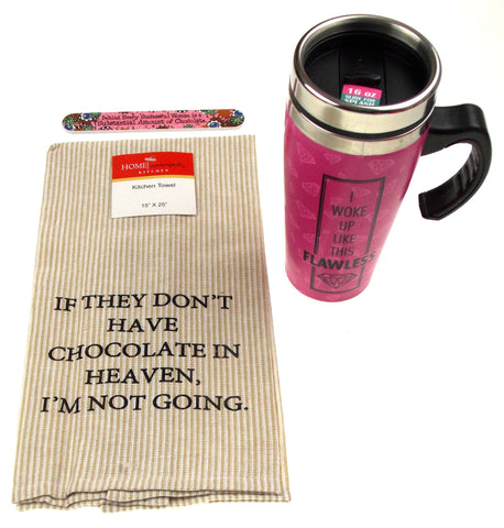 Pink Flawless Coffee Travel Mug 16 oz Chocolate in Heaven Towel Gifts Her Set 4