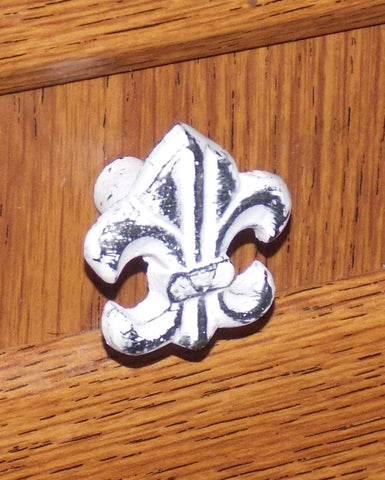 4 Decorative Metal Fleur De Lis Cabinet Drawer Knobs Hardware White Distressed - FUNsational Finds - 1