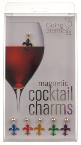 Going Stemless Fleur De Lis Wine Charms Cocktail Magnetic Set 6 Drink Xmas Gift