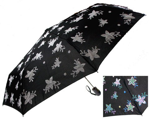 "Color Changing Umbrella 42"" Rain Stoppers Black Floral Flowers Auto Open Close - FUNsational Finds - 1"