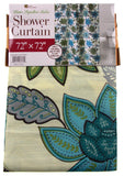 "Floral Fabric Shower Curtain Water Repellent 72"" x 72"" White Green Blue - FUNsational Finds - 3"