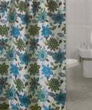 "Floral Fabric Shower Curtain Water Repellent 72"" x 72"" White Green Blue - FUNsational Finds - 2"
