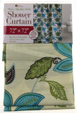 "Floral Fabric Shower Curtain Water Repellent 72"" x 72"" White Green Blue - FUNsational Finds - 1"