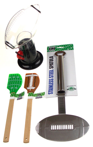 Gridiron Nation Tailgate Football Stainless Steel Spatula Snack Dispenser Set 4 - FUNsational Finds - 1