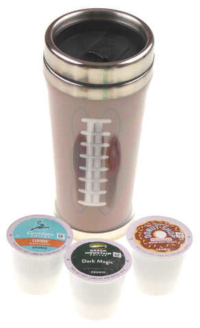 Brown Football Coffee Lovers Travel Mug 15 oz Stainless 3 K cups Lot Xmas Gift - FUNsational Finds - 1