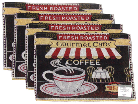 Fresh Roasted Gourmet Cafe Coffee Set of 4 Placemats 13x19 Kitchen Table Fabric