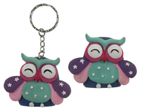 Fashioncraft Friends Forever Wise Owl Refrigerator Magnets Key Rings Set 8 Green
