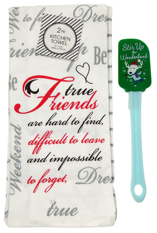 "Kitchen Towels Friends Gift 15""x25"" Stir Up A Wonderland Reindeer Spatula Set 3 - FUNsational Finds - 1"