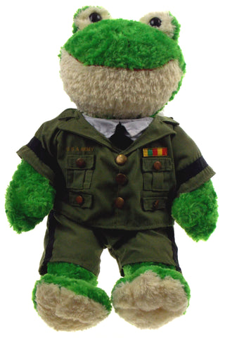 "Frog Build A Bear Workshop US Army Uniform 19"" Hugs Wishes Love Stuffed Animal - FUNsational Finds - 1"