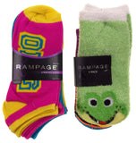 11 Pairs No Show Socks Women Rampage Size 5-11 OMG Frog LOL Wild XOXO Love Green - FUNsational Finds - 1
