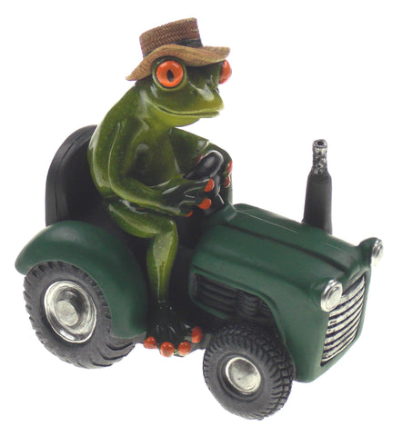 Farmer Frog Riding On A Tractor Figurine Home Decor Straw Hat Polystone Green