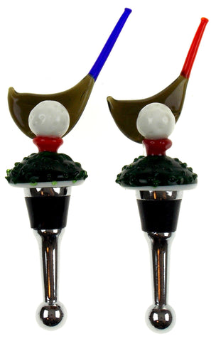 Golf Club Glass Metal Wine Stopper Decoration Set 3 Artistic Creations Hand Made - FUNsational Finds - 1