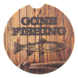 Reel Time Gone Fishing Rope Stone Car Coasters Set 4 CounterArt Absorbent Auto