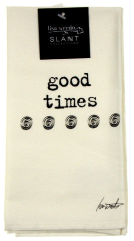 Good Times Cloth Napkins White Lot 6 18x18 Cotton Lisa Weedn Slant Collections - FUNsational Finds - 1