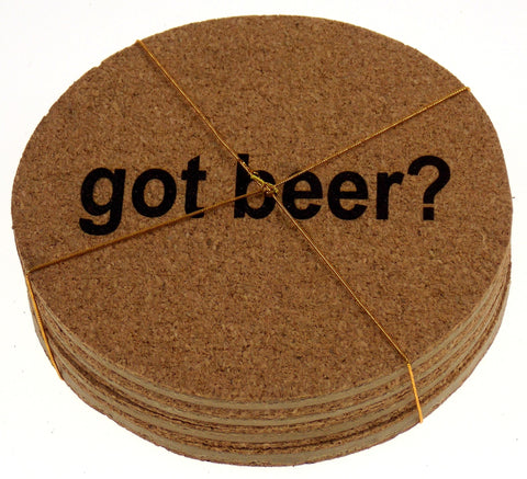 Beer Coaster Set of 4 Got Beer? Cork Wood Core Laser Engraved Man Cave - FUNsational Finds - 1