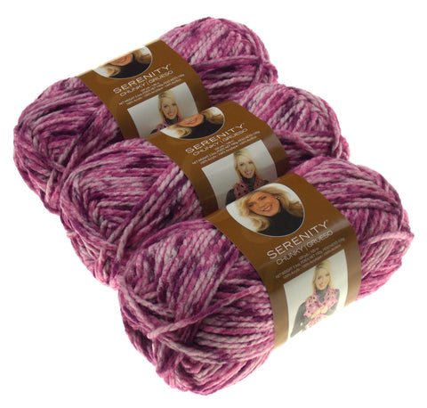 Serenity Chunky Grape Jam Premier Yarn Deborah Norville 3 Skeins Purple Acrylic