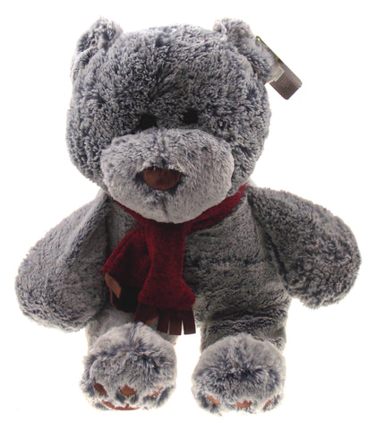 Animal Adventure Owen Gray Bear Plush Scarf Super Soft Toy Sits Up Stuffed