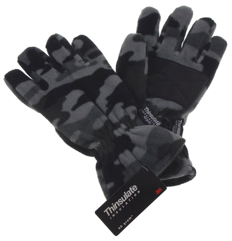 Gray Camo Athletech Fleece Gloves 3M Thinsulate Lined Mens Winter Snow M L XL - FUNsational Finds - 1