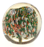 "Art Glass Paperweight Orange Green White Size 55 mm 2.25"" Diameter Round Clear"