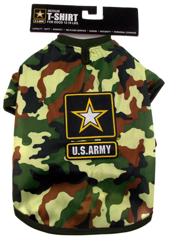 US Army T Shirt For Dogs Green Camo Choice XS Small Medium Large Lightweight - FUNsational Finds - 1