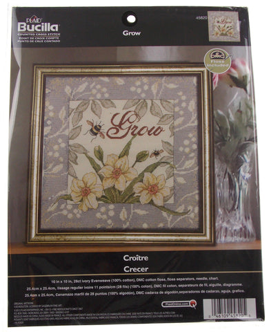 Plaid Bucilla Grow Counted Cross Stitch 45820 Flowers Leaves Bees Evenweave - FUNsational Finds - 1