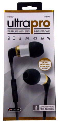 Sentry Ultra Pro Stereo Earbuds Microphone Deluxe Case H7000 Metal Tangle Proof