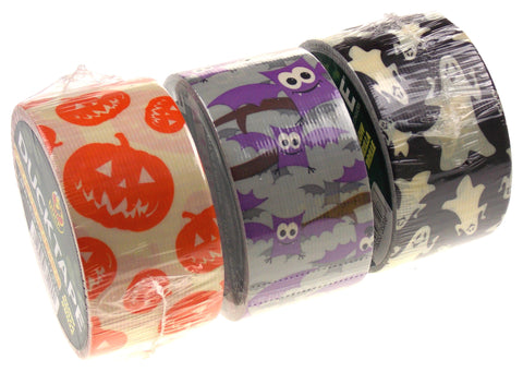 "Lot 6 Halloween Duck Tape Duct 1.88"" Bewitching Bat Glow Ghost Pumpkin 52yds"