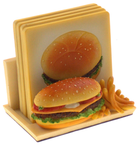 Hamburger & Fries Coaster Set Stand Set 4 Ceramic Handpainted MH360 A Richesco - FUNsational Finds - 1