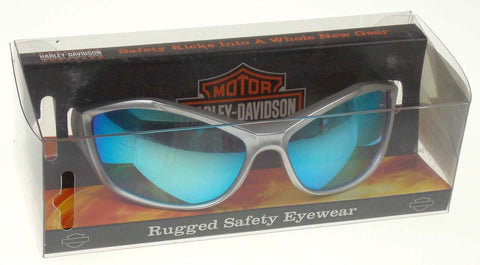 Harley Davidson Rugged Safety Eyewear Glasses Silver Frame Tinted Blue Mirror - FUNsational Finds - 1