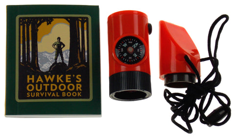 Lot 2 Hawke's Outdoor Survival Kit Mega Mini Kit Compass Whistle Lanyard Mirror - FUNsational Finds - 1