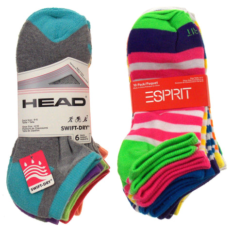 16 Pairs No Show Socks Head Esprit Women Size 4-10 Stripes Pink Purple Blue Gray