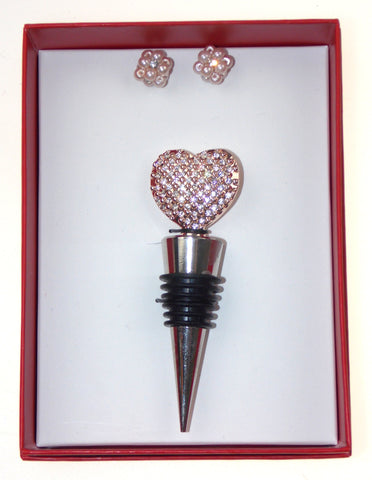 Gold Heart Wine Gift Box Set Boxed Bottle Stopper Faux Pearl Earrings Jewels