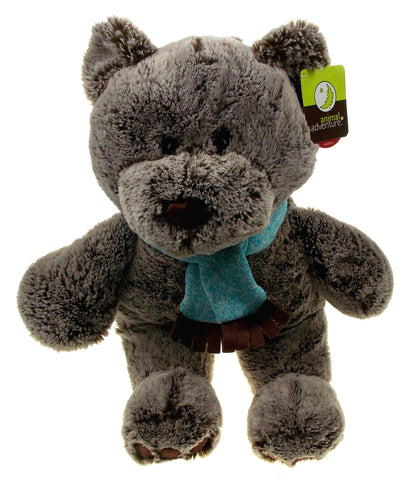 Animal Adventure Owen Bear Plush Holiday Scarf Super Soft Toy Sits Up Stuffed