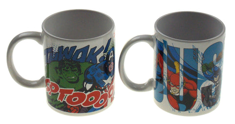 Zak! Marvel Avengers DC Comics Justice League Coffee Mugs Set 2 White Mug 12 oz