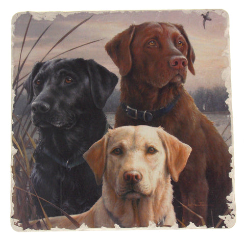 "Counter Art Hunting Dogs Square 6"" Tumbled Tile Trivet Absorbent Stone Made USA"