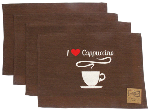 I Love Cappuccino Set 4 Placemats 13x19 Coffee Kitchen Dining Table Fabric Brown