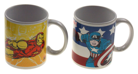 Zak! Marvel Captain America Iron Man Coffee Mugs Set 2 White Mug 12 oz