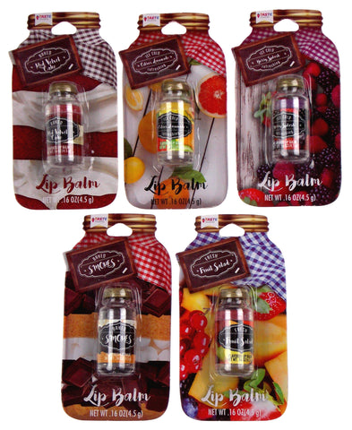 Mason Jars Lip Balm Set of 5 Red Velvet Smores Lemonade Berry Splash Fruit Salad - FUNsational Finds - 1