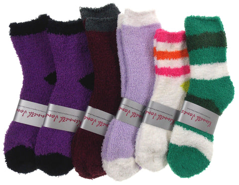 Lot of 6 Pairs Cozy Socks 4-10 Women Crew Kenneth Jones Fuzzy Warm Black Green - FUNsational Finds - 1