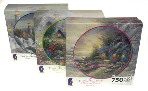 "Thomas Kinkade 24"" Round Jigsaw Puzzles 750 Pc Set 3 USA Ceaco Painter of Light"